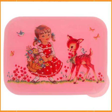 Brooddoos meisje met bloemen groot Pink
