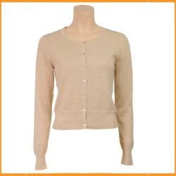 Vestje in mooie unikleuren met een subtiele glitter. Met hoogsluitende, ronde hals, lange mouw en knoopsluiting