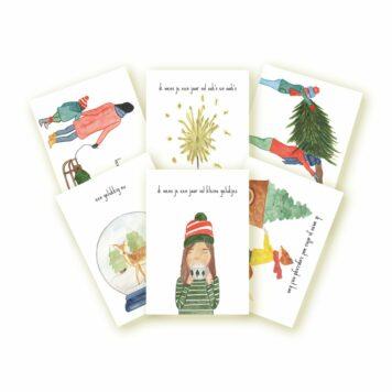 Studio Bertha Postkaartenset Lieve Kerstwensen